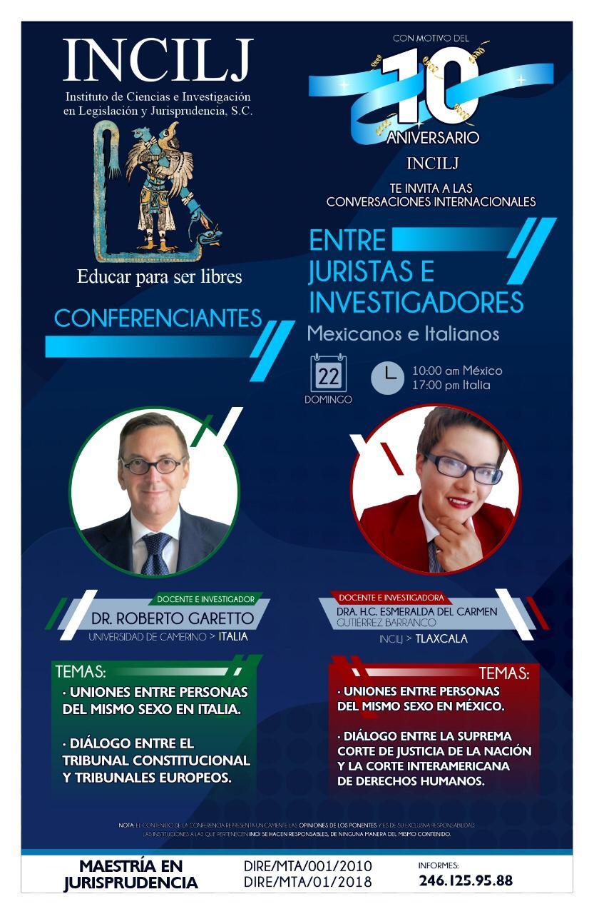 """""""Conversaciones internacionales entre juristas e investigadores conferenciantes mexicanos e italianos"""" (EVENTO)"""