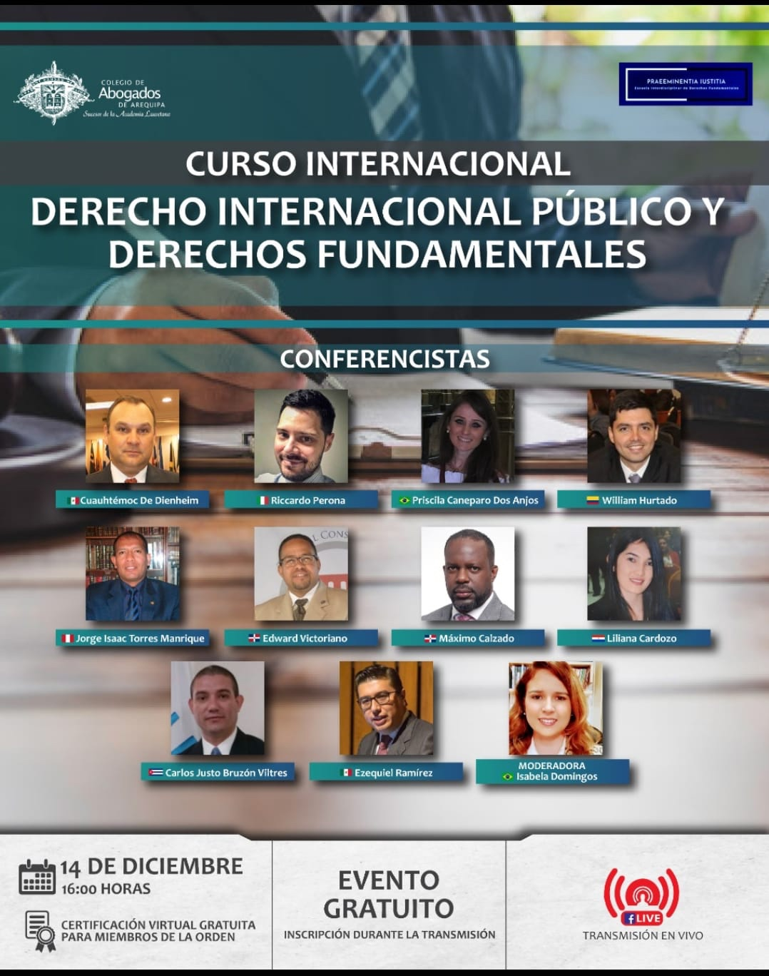 "Curso internacional ""Derecho internacional público y derechos fundamentales"" (Perú): participation of the Institute's Director / participación del Director del Instituto"