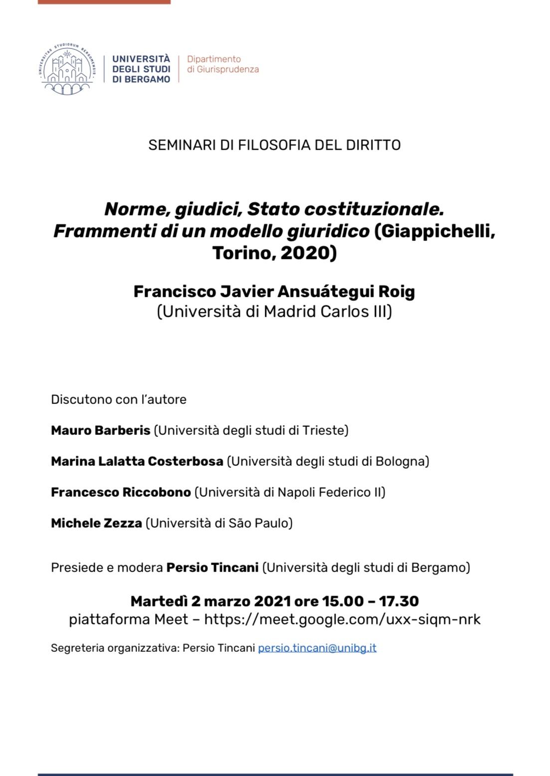 """Michele Zezza discussant nel Seminario su """"Norme, giudici, Stato costituzionale. Frammenti di un modello giuridico"""" (Università di Bergamo)"""